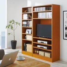 テレビが置けるブックシェルフ 上置き付き 幅90cm高さ225cm 通販 - ディノス