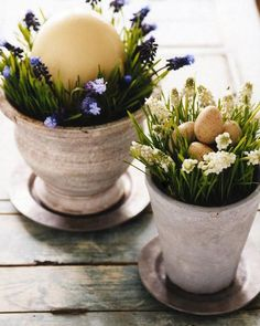 Make these Spring in a Pot Centerpieces for your Easter brunch table