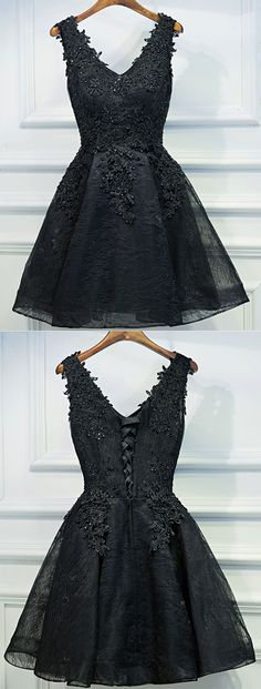 Little Cute | Cute black v neck lace short prom dress,homecoming dresses | Online Store Powered by Storenvy
