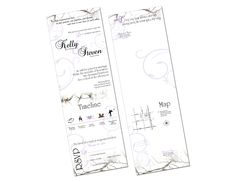 "Branches Seal and Send Wedding Invitations! Save time and money! Seal and Sends include 4 panels for you to incorporate all your important wedding information: RSVP's, Ceremony info, Reception info, Timeline, Map, and Accommodations. You have a 6""x18"" space to work with and when the invitation is folded up it will be 4""x6"" It takes one 49 Cent stamp to mail a seal and send and includes a tear off rsvp card."
