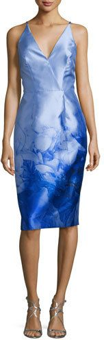ML Monique Lhuillier Print Cocktail Dress, Periwinkle