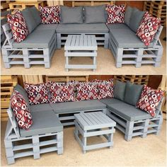 You can superbly make the use of the old shipping pallets in the creation of the exciting U shaped couch set. This whole creation is all comprised off. , Tempting DIY Ideas with Recycled Wooden Pallets Garden Furniture Design, Pallet Garden Furniture, Diy Furniture Couch, Diy Outdoor Furniture, Furniture Ideas, Pallets Garden, Rustic Furniture, Antique Furniture, Furniture Removal