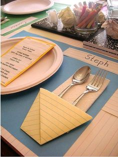 Using school notebook paper, accessorize a table creating cutlery holder, menu and placecards. ( Via tipjunkie.com).