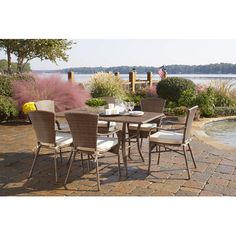 Panama Jack Key Biscayne 7 Piece Dining Set with Cushions Fabric: Air Blue