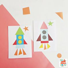 Shape Rocket - a fab preschool activity - Mum In The Madhouse Kindergarten Art Projects, Craft Projects For Kids, Fun Crafts For Kids, Craft Activities For Kids, Toddler Crafts, Craft Kids, Math Activities, Preschool Rocket, Rocket Craft