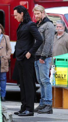 "Tom Hiddleston as ""Loki"" (with Chris Hemsworth) on the set of ""Thor : Ragnarok""…"