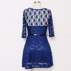 Daria Hollow Out #Lace #Dress - Blue