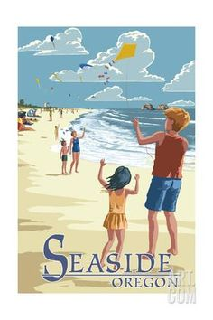 Seaside, Oregon - Kite Flyers Art Print by Lantern Press at Art.co.uk