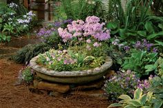 We're kicking off our list of Container Gardening Ideas with a tip that will have you thinking outside the box—or planter.    Consider using a cast-concrete pool for a miniature garden. Because these pools are made to accommodate plumbing, there are already holes in the bottom that allow for drainage.
