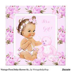 Vintage Floral Baby Shower Girl Pink Bear Invitation