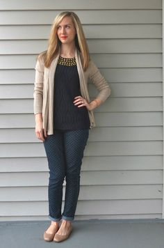 polka dot jeans, navy and beige