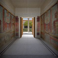 Villa reconstruction 2, Pompeii, Italy on Behance ~ This recreated view shows the relationship of  room M to the peristyle. Copyright of photographs of the frescoes are owned by THE METROPOLITAN MUSEUM of ART.