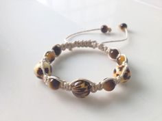 Shamballa Bracelet Jungle Cat with leopard and tiger's eye beads by TheBeautyandTheBead on Etsy, $12.00