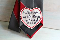 Groom Gift. Hand Embroidered Tie Patch. Groom by sewhappygirls