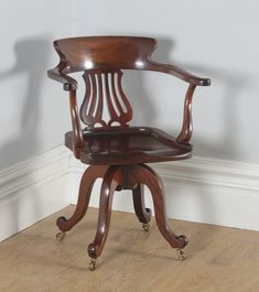 Edwardian Oak Amp Green Leather Revolving Desk Chair