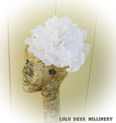 White Organdy Flower Bridal Fascinator by LuluDeuxMillinery