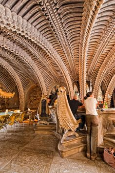 Giger Bar in Switzerland designed by the artist H. Giger, themed along the lines of Giger's biomechanical style as shown in the Alien films. Bar Restaurant Design, Cool Restaurant, Restaurant Interiors, Shop Interiors, Bar Interior Design, Cafe Interior, Hr Giger Bar, Amazing Architecture, Architecture Design