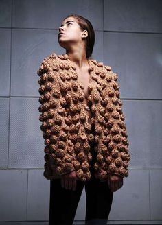 knitmenot.tumblr: Anna Dudzinska 3D cardi found on Trendhunter. The next few seasons are all about getting as much texture as possible into knitwear.
