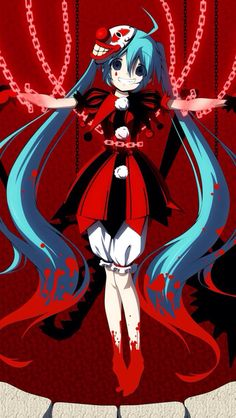 Psycho Miku (looks similar to me only without the ponytails, my hair black with blood dye in it and i only have one eyeball) Anime Eyes, Manga Anime, Anime Art, Hot Anime, Vocaloid, Dark Anime Girl, Anime Girls, Amaterasu, Creepy Cute