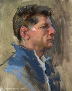 """Doug"" by Adam Clague Oil Watercolor Portrait Painting, Painting & Drawing, Knife Painting, Watercolor Artists, Painting Lessons, Watercolor Illustration, Portrait Sketches, Portrait Art, Portrait Paintings"