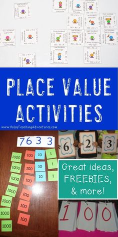 If you're on the lookout for great place value activities you can use in the elementary classroom, you've come to the right place! This blog post contains great ideas, games, FREE downloads, center ideas, printables, and more to solidify place value concepts. Adapt the ideas for tens, hundreds, thousands, ten thousands, decimals, and more. Use these with your Kindergarten, 1st, 2nd, 3rd, 4th, 5th, or 6th grade students. {first, second, third, fourth, fifth, sixth graders, freebie} Place Value Games, Place Value Activities, Math Activities, Place Value Centers, Fourth Grade Math, Second Grade Math, Grade 3, Second Grade Freebies, 2nd Grade Math Games
