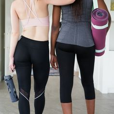 It's yoga o'clock! Time to log out, shut down and do yoga. 🧘🏻♀️ Inhale. Exhale. Namaste. I ❤️ any excuse for yoga pants and messy hair.   Tag your yoga bestie. 👯♀️   💫 www.threesixfiveplus.com 💫