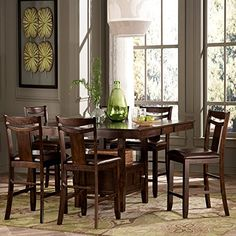 NEW 7-Piece Counter Height Expandable Storage Dining Table Set