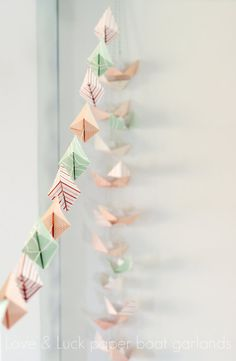 Items similar to Love & Luck paper boat garland (Pink loves minty green edition) on Etsy Paper Folding Crafts, Diy Paper, Paper Crafts, Tissue Paper, Origami Garland, Bunting Garland, Paper Garlands, Diy Arts And Crafts, Crafts For Kids