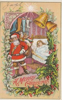 57 1915 Postcard BY Bamberger Santa Claus Merry Christmas | eBay