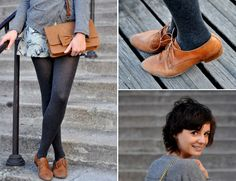 brown oxfords, gray tights
