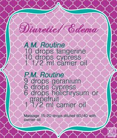 Diuretic essential oil recipe. Tangerine is supposed to be the best for water retention according to gary young.