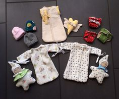 Micro preemie Set with sleeping bag, hat, diaper and Waldorf Star doll and winged Heart as Memory keepsake