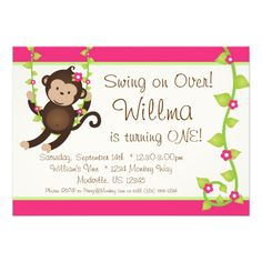 Mod Monkey Pink and Green Birthday Party Invite
