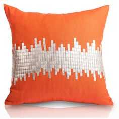 Pyar Janagali Pillow in Tangerine ($202) ❤ liked on Polyvore featuring home, home decor, throw pillows, pillows, tangerine throw pillows, orange toss pillows, orange home decor, orange home accessories and handmade home decor