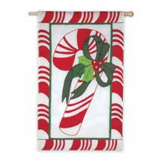 """Flags A' Flying """"Candy Cane"""" Applique Seasonal Banner; Polyester 28""""x45"""" - Christmas"""
