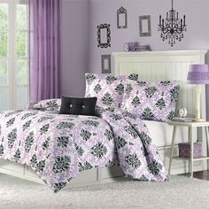 black white and purple damask, damask bedding, teen bedding, black white and purple bedding - Milan's Room Damask Bedding, Cute Bedding, Purple Bedding, Teen Bedding, Luxury Bedding, Damask Bedroom, Teen Girl Comforters, Paris Bedding, Lilac Bedroom