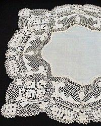 Antique 19th Century Maltese Silk Lace Wedding Handkerchief