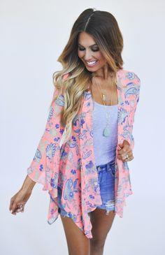 Bright Coral Paisley Kimono - Dottie Couture Boutique