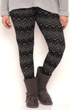 Deb Shops Plus Size Multicolor Chevron Print Hacci Legging $10.00