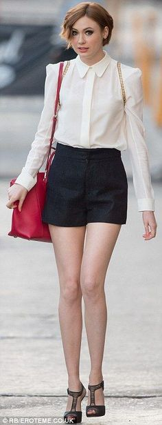 A tale of two outfits: Karen Gillan, 26, arrived for a taping of Jimmy Kimmel Live in Holl...