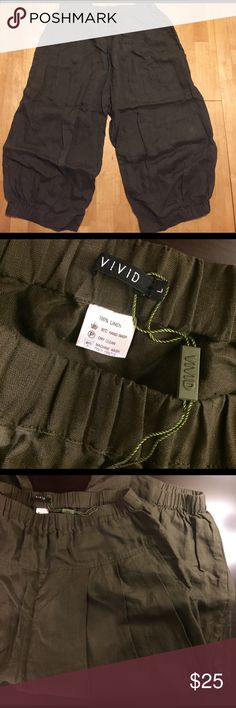 Vivid Linen Crumple Effect Harem Pants- Size Large Vivid Linen Crumple Effect Harem Pants. Size Large. New in great condition color earthy green. Pants