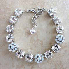 Swarovski crystal bracelet crystal and opal bridal by siggysbeads, $45.00