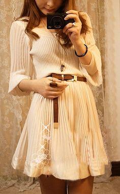 Apricot pleated dress