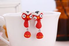 New to SpektroDesign on Etsy: Owl Earrings Animal Bird Tweet Polymer Clay Hand Made 3D Red/White (12.90 USD)