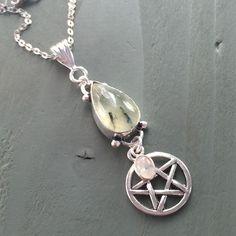 Silver Plated Prehnite Rainbow Moonstone Pentagram Pendant Reiki Chakra Wicca