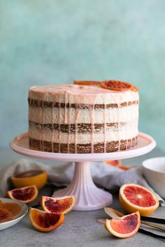 This vanilla bean blood orange cake is frosted with a simple blood orange buttercream, and it's finished with a vanilla bean blood orange glaze and candied blood oranges! It's the perfect winter citrus cake and many components can be made ahead of time! Citrus Cake, Orange Buttercream, Cake Recipes, Dessert Recipes, Blood Orange, Celebration Cakes, Let Them Eat Cake, Cupcake Cakes, Food Cakes