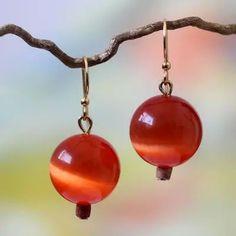 Beaded earrings, 'Afriyie' - Artisan Crafted Cat's Eye Earrings | NOVICA #falljewelry #fallseason #fallaccessories #fallfashion #autumnjewelry #gemstone #earrings #cateyeearrings
