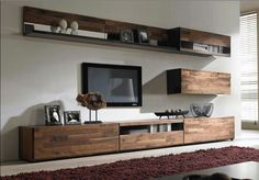 Source Hanging Shelf with Hanging Cabinets, Wooden TV stand assembling design on. : Source Hanging Shelf with Hanging Cabinets, Wooden TV stand assembling design on. Living Room Wall Units, Living Room Tv Unit Designs, Home Living Room, Living Room Furniture, Living Room Decor, Tv Furniture, Tv Shelf Design, Tv Cabinet Design, Simple Tv Unit Design