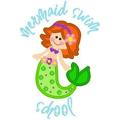 Mermaid Swim School Applique - 3 Sizes! | Beach/Ocean | Machine Embroidery Designs | SWAKembroidery.com Band to Bow
