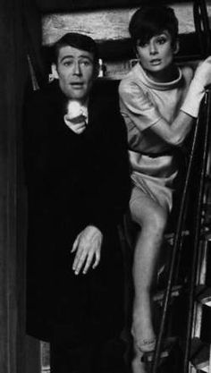 Audrey Hepburn hiding in a broom closet with Peter O'Toole in preparation for the caper in HOW TO STEAL A MILLION.